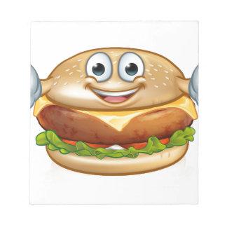 Burger-Nahrungsmittelmaskottchen-Cartoon-Charakter Notizblock