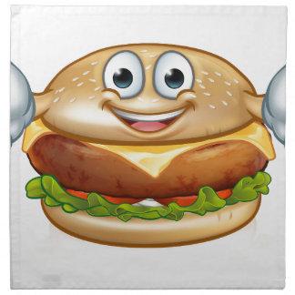 Burger-Nahrungsmittelmaskottchen-Cartoon-Charakter Stoffserviette