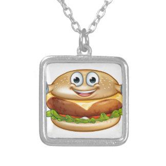 Burger-Nahrungsmittelmaskottchen-Cartoon-Charakter Versilberte Kette