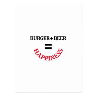 Burger plus Bier entspricht Glück Postkarte