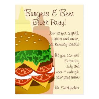Burger und Bier, Block-Party Einladung Postkarte
