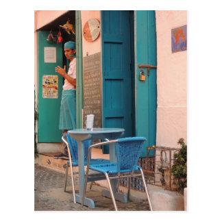 Bürgersteigs-Fisch-Café in Cartagena Postkarte