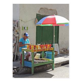 Bürgersteigs-Frucht-Verkäufer in Cartagena Postkarte