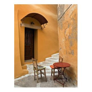 Bürgersteigstabelleneinstellung, Chania, Kreta, Postkarte