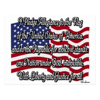 Bürgschaft von Ergebenheit mit US-Flagge Postkarte
