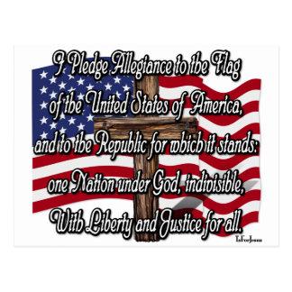 Bürgschaft von Ergebenheit mit US-Flagge und Postkarte