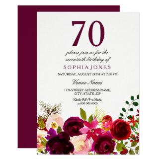 Burgunder-Blumen-70. Geburtstags-Party Einladung