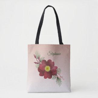 Burgunder-Blumen-und -kiefern-Ast-Feiertag Tasche