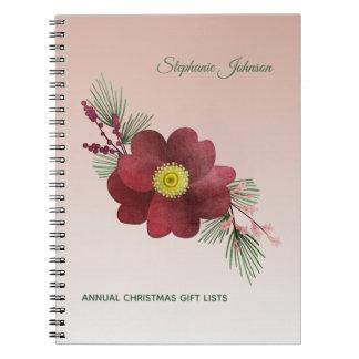 Burgunder-Blumen-und -kiefern-Ast-Feiertags-Listen Spiral Notizblock