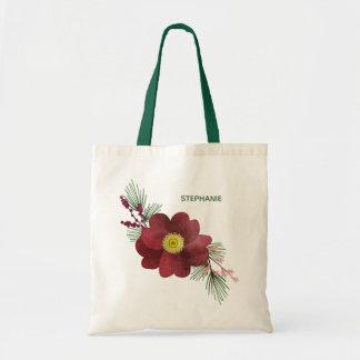 Burgunder-Blumen-und Tragetasche