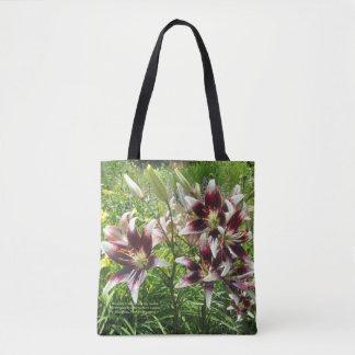 Burgunder-Creme-asiatische Lilien, gelbe Taglilien Tasche