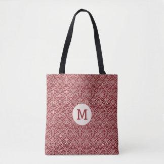 Burgunder-Damastmuster mit Monogramm Tasche