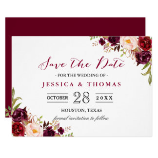 Burgunder Marsala BlumenChic, der Save the Date Karte