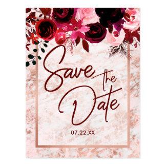 Burgunder mit Blumen u. Rosen-Gold, das Save the Postkarte
