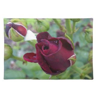 Burgunder-Rose nach Regen Stofftischset