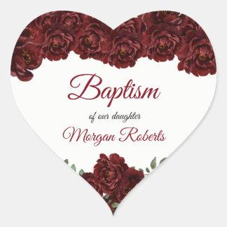 Burgunder-Rosen-Blumen-Baby-Mädchen-Taufe Herz-Aufkleber