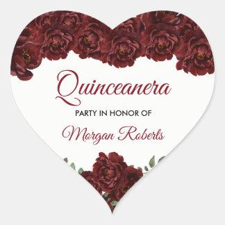 Burgunder-Rote Rose Quinceanera 15. Herz-Aufkleber