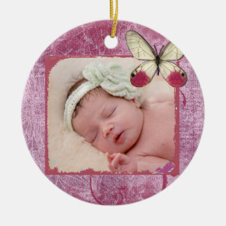 Burgunder-Schmetterlings-Verzierung des Babys Rundes Keramik Ornament