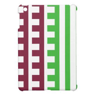 Burgunder und Grün-Kamm-Zahn iPad Mini Hülle