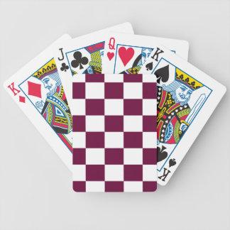 Burgunder und weiße Schachbretter Bicycle Spielkarten