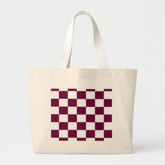 Burgunder und weiße Schachbretter Jumbo Stoffbeutel