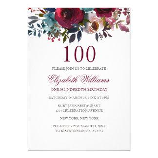 BurgunderblumenAquarell-100. Geburtstag laden ein Karte