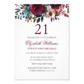 BurgunderblumenAquarell-21. Geburtstag laden ein Karte