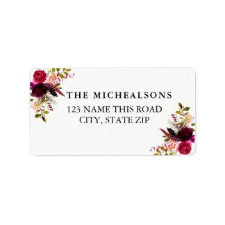 BurgunderblumenAquarell-Adressen-Etiketten Adressaufkleber