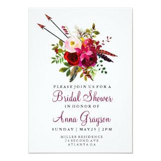 BurgunderblumenAquarell Bridalshower Einladung