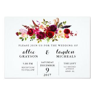 BurgunderblumenAquarell-Hochzeits-Einladung Karte