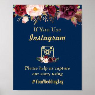 Burgunderblumenmarine-Blau Instagram Poster
