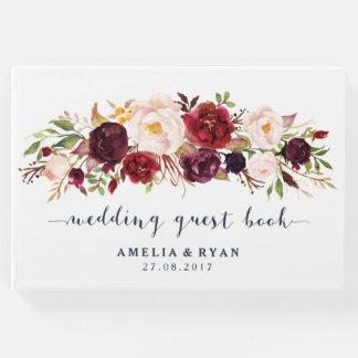 Burgunderblumenmarine-Hochzeits-Gast-Buch Gästebuch