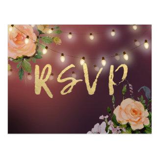 Burgunderblumenschnur-Lichter, die UAWG Antwort Postkarte