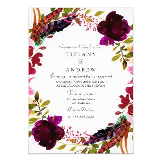 Burgunderladen lila BlumenVerlobungs-Party ein Karte