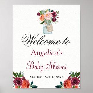 Burgunderorange BlumenWeckglas-Babyparty-Zeichen Poster