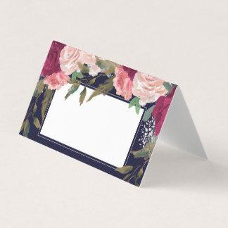 Burgunderrosa Blumenmarine-Hochzeits-Platzkarte Platzkarte