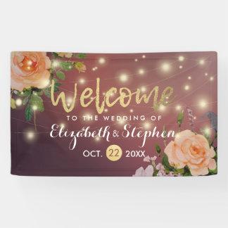 Burgunderrote Blumenschnur beleuchtet Banner
