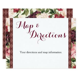 Burgundy Bouquet Wedding Information Card Karte