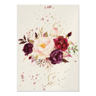 Burgundy Floral Water Paint -Simple Lines-splashes Karte