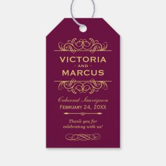 Burgundy Wedding Wine Bottle Monogram Favor Tags Geschenkanhänger