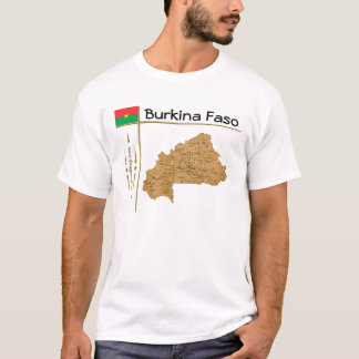 Burkina Faso Karte + Flagge + Titel-T - Shirt