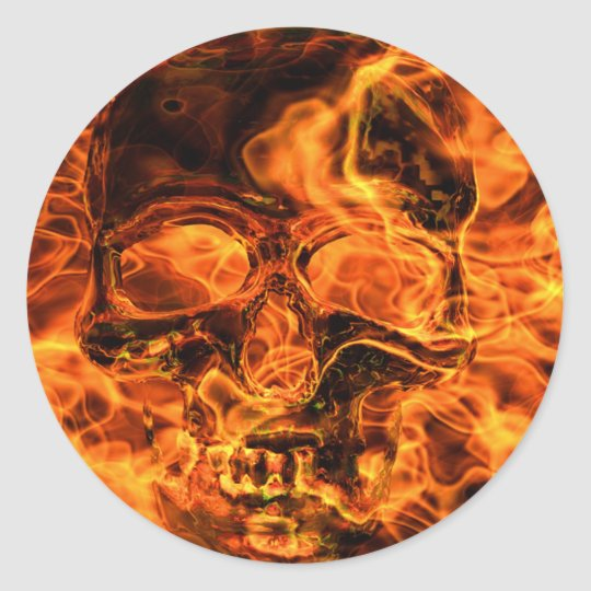 Burning skull runder aufkleber