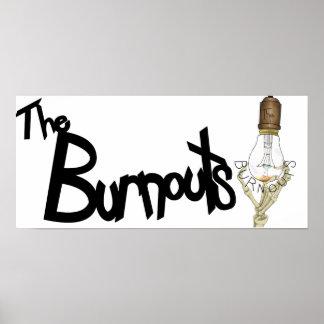 Burnouts-Schwarzes auf weißem Plakat