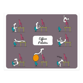 Büro Pilates Postkarte, braun Postkarte