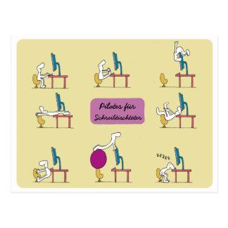 Büro Pilates Postkarte, gelber DEUTSCHER Postkarten