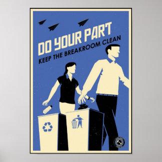 Büro-Propaganda: Breakroom (blau) Poster