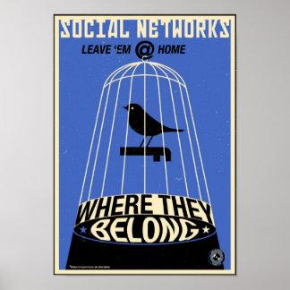 Büro-Propaganda: Sozialnetz (blau) Poster