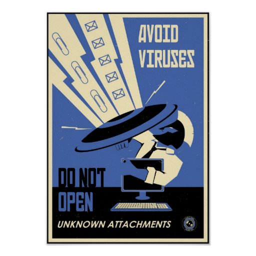 Büro-Propaganda: Vermeiden Sie die Downloads (blau Plakat