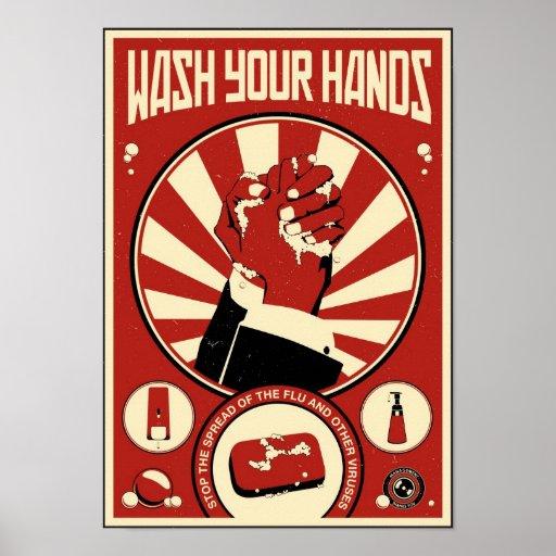 Büro-Propaganda: Waschen Sie Ihre Hände Plakat