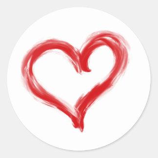 Bürste gemalter roter Herz-Aufkleber